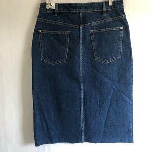 Zara Skirts - Zara Hi-Rise Midi Jean Skirt with Raw Edge Hem